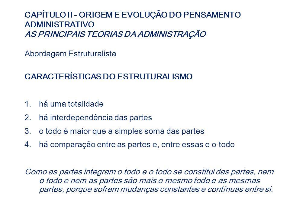CAPÍTULO II - ORIGEM E EVOLUÇÃO DO PENSAMENTO ADMINISTRATIVO AS PRINCIPAIS TEORIAS DA ADMINISTRAÇÃO Abordagem Estruturalista CARACTERÍSTICAS DO ESTRUT