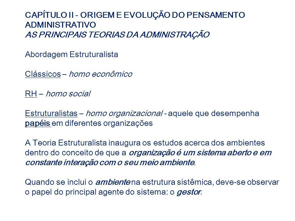 CAPÍTULO II - ORIGEM E EVOLUÇÃO DO PENSAMENTO ADMINISTRATIVO AS PRINCIPAIS TEORIAS DA ADMINISTRAÇÃO Abordagem Estruturalista Clássicos – homo econômic