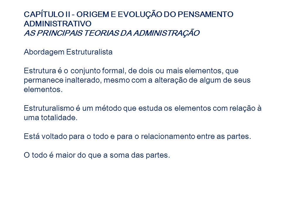 CAPÍTULO II - ORIGEM E EVOLUÇÃO DO PENSAMENTO ADMINISTRATIVO AS PRINCIPAIS TEORIAS DA ADMINISTRAÇÃO Abordagem Estruturalista Estrutura é o conjunto fo