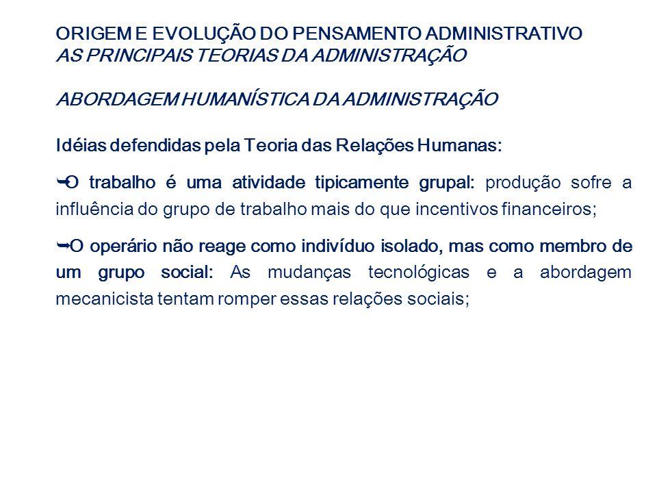 ORIGEM E EVOLUÇÃO DO PENSAMENTO ADMINISTRATIVO AS PRINCIPAIS TEORIAS DA ADMINISTRAÇÃO ABORDAGEM HUMANÍSTICA DA ADMINISTRAÇÃO Idéias defendidas pela Te