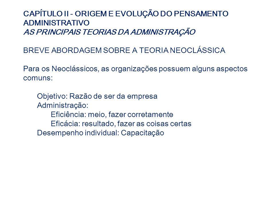 CAPÍTULO II - ORIGEM E EVOLUÇÃO DO PENSAMENTO ADMINISTRATIVO AS PRINCIPAIS TEORIAS DA ADMINISTRAÇÃO BREVE ABORDAGEM SOBRE A TEORIA NEOCLÁSSICA Para os