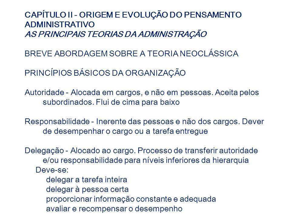 CAPÍTULO II - ORIGEM E EVOLUÇÃO DO PENSAMENTO ADMINISTRATIVO AS PRINCIPAIS TEORIAS DA ADMINISTRAÇÃO BREVE ABORDAGEM SOBRE A TEORIA NEOCLÁSSICA PRINCÍP