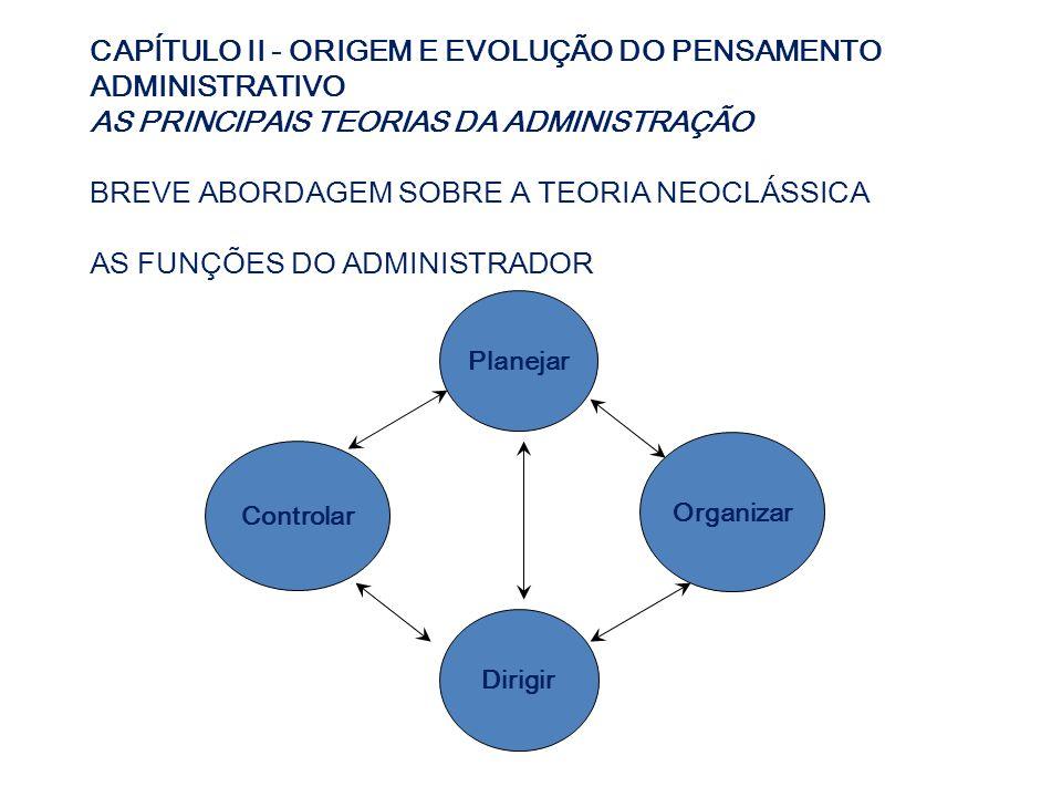 CAPÍTULO II - ORIGEM E EVOLUÇÃO DO PENSAMENTO ADMINISTRATIVO AS PRINCIPAIS TEORIAS DA ADMINISTRAÇÃO BREVE ABORDAGEM SOBRE A TEORIA NEOCLÁSSICA AS FUNÇ