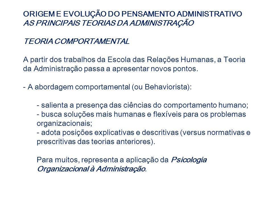 ORIGEM E EVOLUÇÃO DO PENSAMENTO ADMINISTRATIVO AS PRINCIPAIS TEORIAS DA ADMINISTRAÇÃO TEORIA COMPORTAMENTAL A partir dos trabalhos da Escola das Relaç