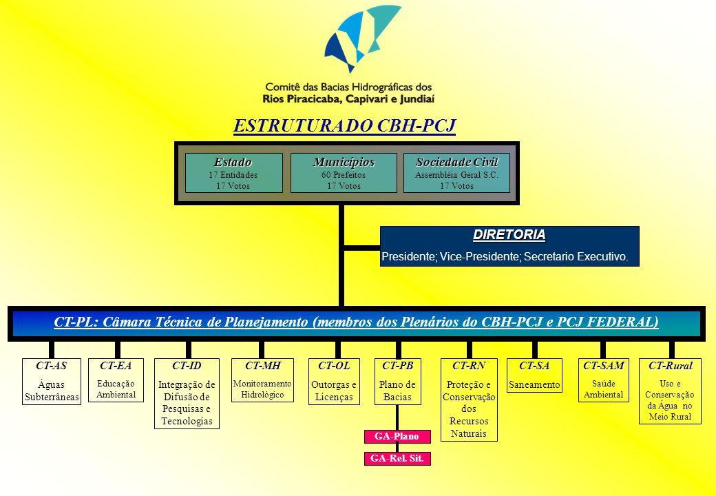 ESTRUTURA DO CBH-PCJ DIRETORIA Presidente; Vice-Presidente; Secretario Executivo. CT-PL: Câmara Técnica de Planejamento (membros dos Plenários do CBH-