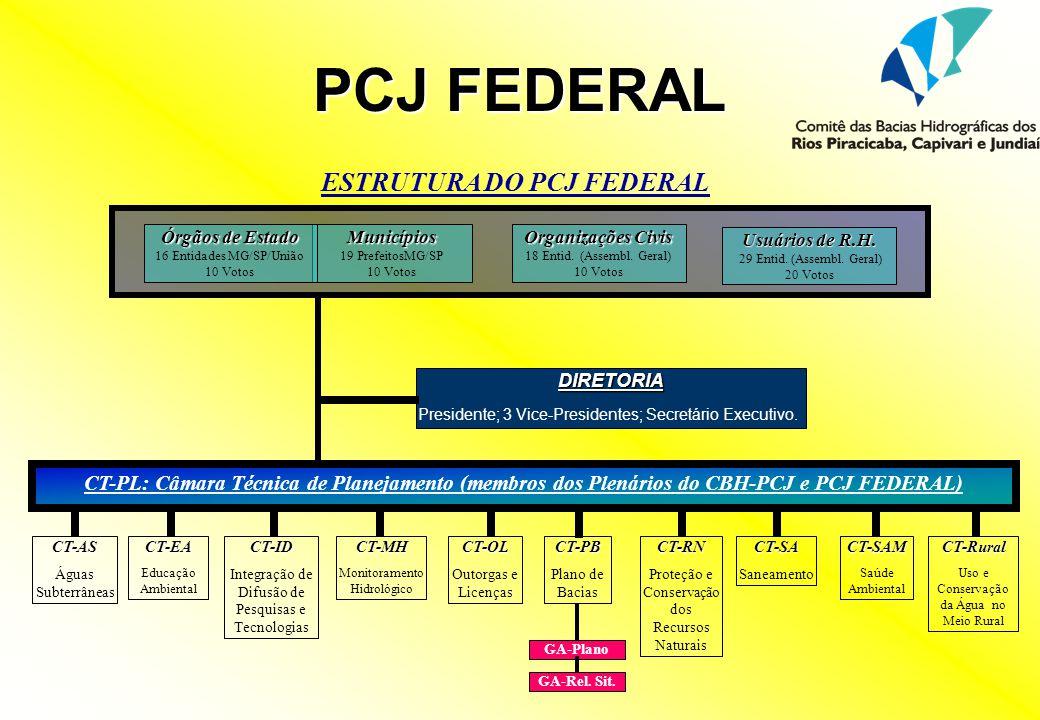 ESTRUTURA DO PCJ FEDERAL DIRETORIA Presidente; 3 Vice-Presidentes; Secretário Executivo. CT-PB Plano de BaciasCT-OL Outorgas e LicençasCT-RN Proteção