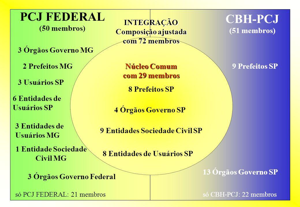 PCJ FEDERAL (50 membros) CBH-PCJ (51 membros) 8 Prefeitos SP 4 Órgãos Governo SP 9 Entidades Sociedade Civil SP 8 Entidades de Usuários SP 9 Prefeitos