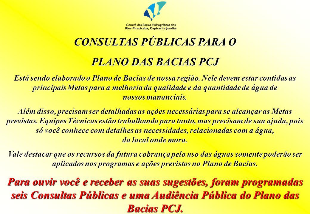 CONSULTAS PÚBLICAS PARA O PLANO DAS BACIAS PCJ Está sendo elaborado o Plano de Bacias de nossa região. Nele devem estar contidas as principais Metas p