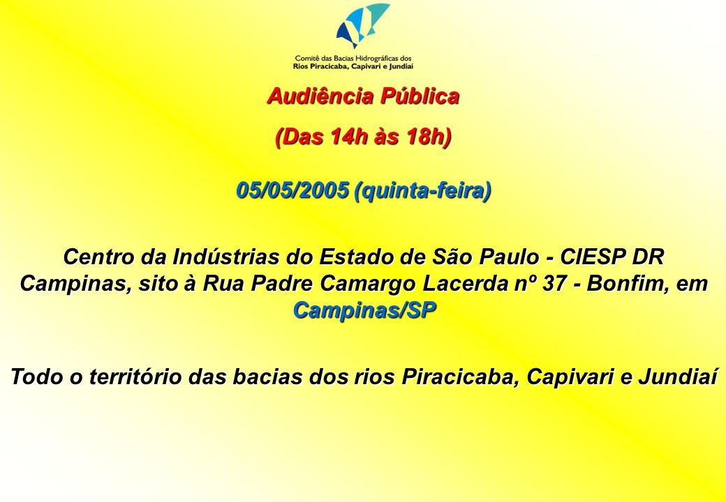 Audiência Pública (Das 14h às 18h) 05/05/2005 (quinta-feira) Centro da Indústrias do Estado de São Paulo - CIESP DR Campinas, sito à Rua Padre Camargo