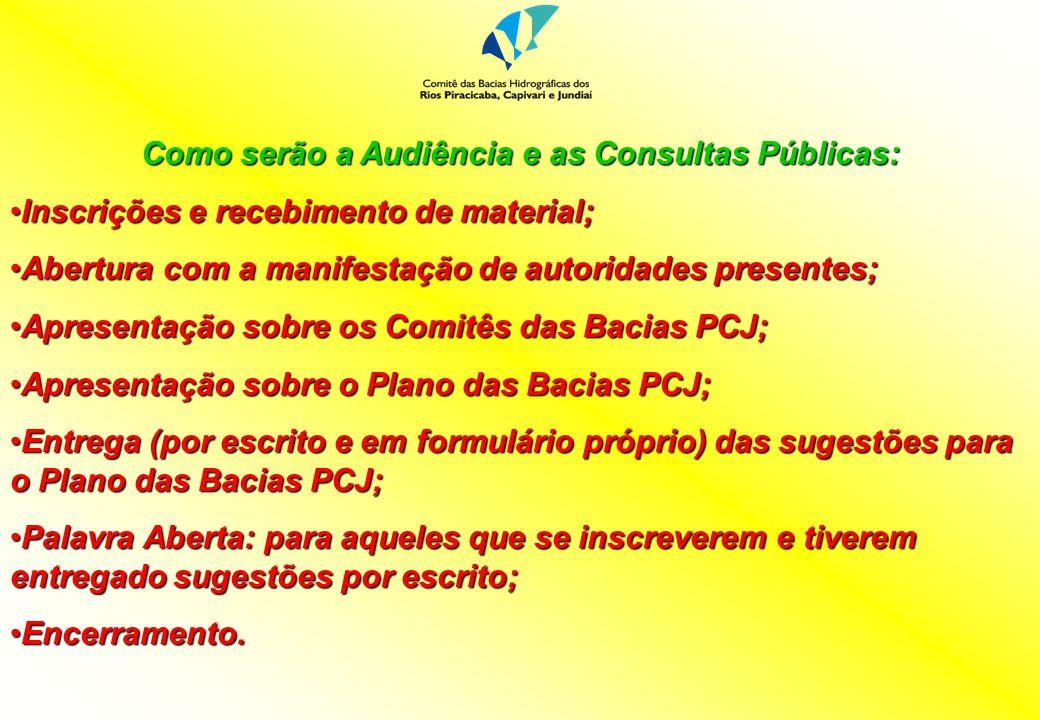 Como serão a Audiência e as Consultas Públicas: Inscrições e recebimento de material;Inscrições e recebimento de material; Abertura com a manifestação
