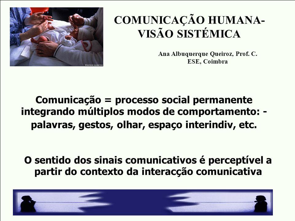 Comunicação = processo social permanente integrando múltiplos modos de comportamento: - palavras, gestos, olhar, espaço interindiv, etc. O sentido dos