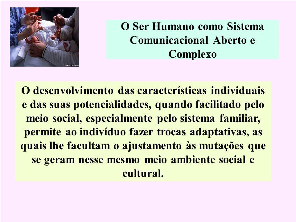 O Ser Humano como Sistema Comunicacional Aberto e Complexo O desenvolvimento das características individuais e das suas potencialidades, quando facili