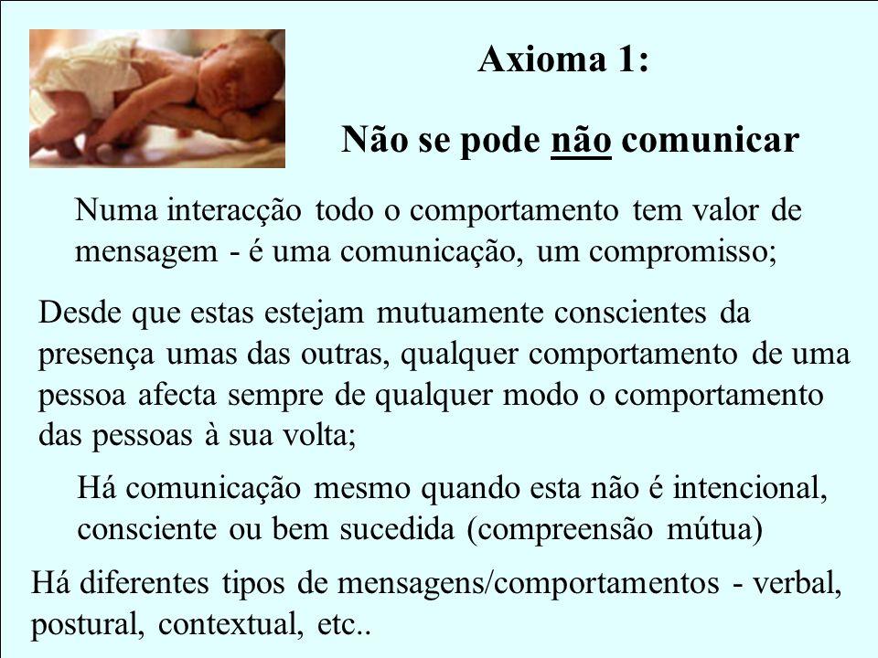 Há comunicação mesmo quando esta não é intencional, consciente ou bem sucedida (compreensão mútua) Axioma 1: Não se pode não comunicar Numa interacção