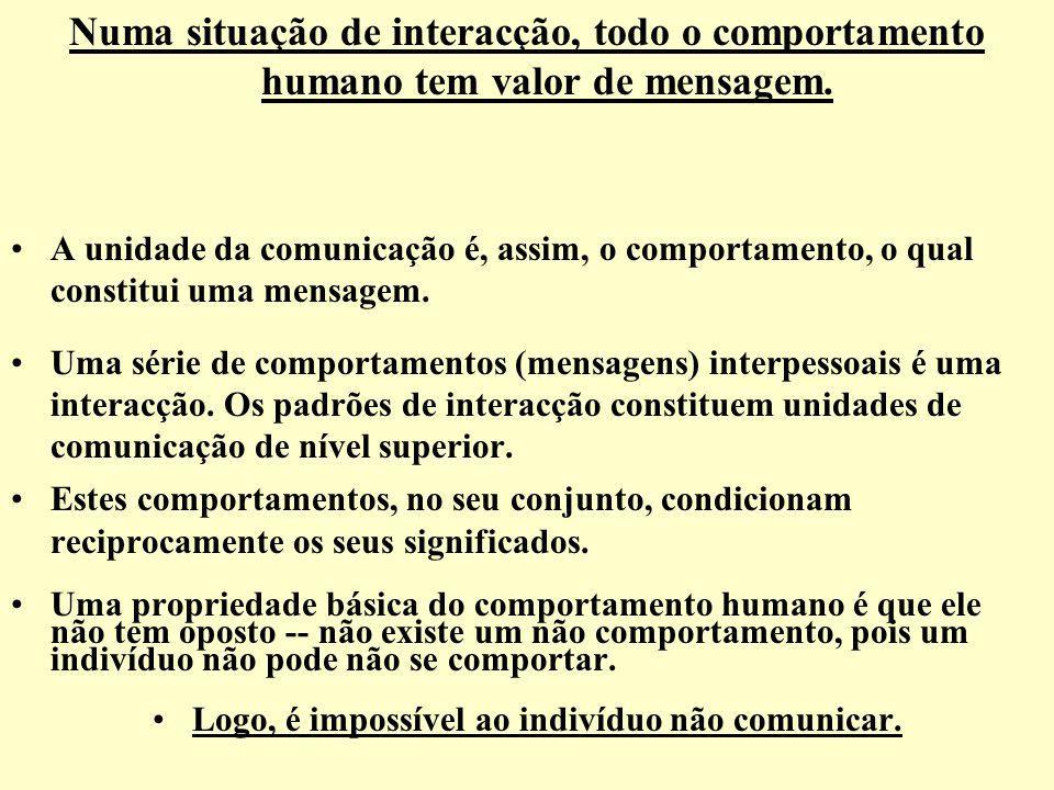 Numa situação de interacção, todo o comportamento humano tem valor de mensagem. A unidade da comunicação é, assim, o comportamento, o qual constitui u