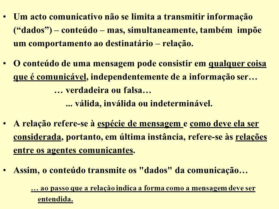 Um acto comunicativo não se limita a transmitir informação (dados) – conteúdo – mas, simultaneamente, também impõe um comportamento ao destinatário –