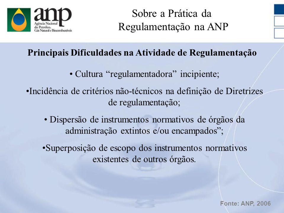 Cultura regulamentadora incipiente; Incidência de critérios não-técnicos na definição de Diretrizes de regulamentação; Dispersão de instrumentos norma
