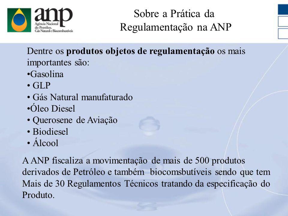Dentre os produtos objetos de regulamentação os mais importantes são: Gasolina GLP Gás Natural manufaturado Óleo Diesel Querosene de Aviação Biodiesel