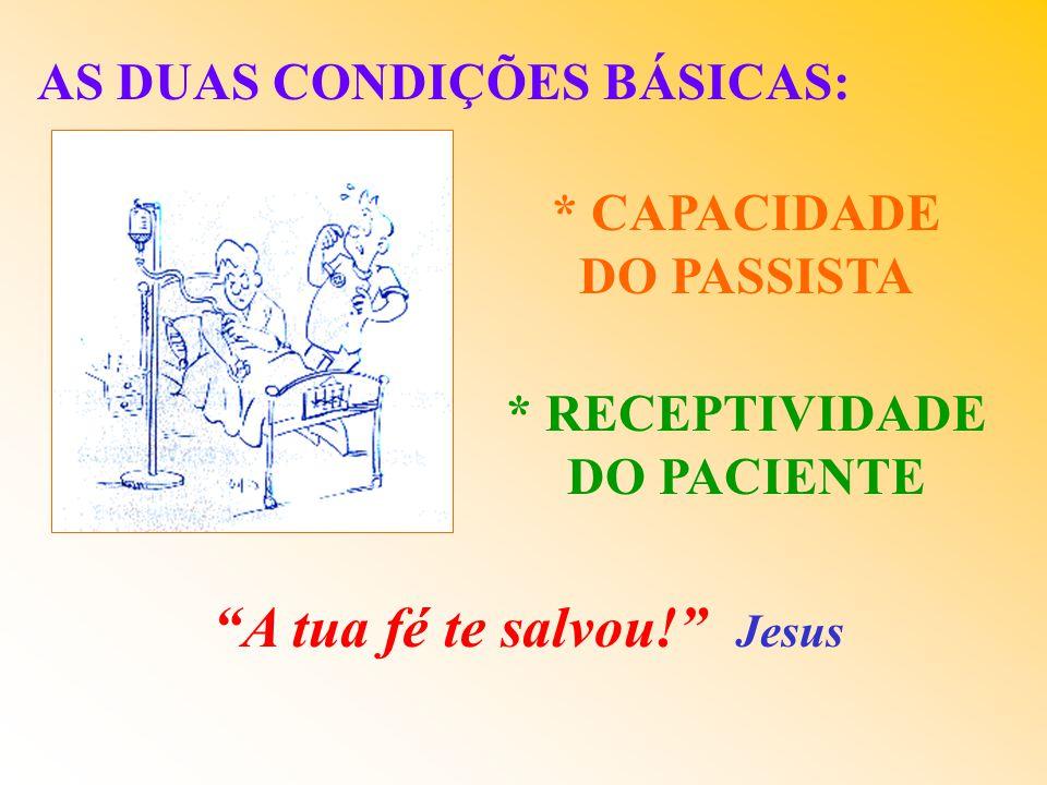 AS DUAS CONDIÇÕES BÁSICAS: * CAPACIDADE DO PASSISTA * RECEPTIVIDADE DO PACIENTE A tua fé te salvou.