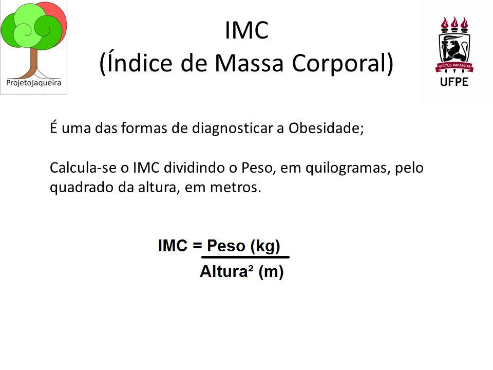 IMC (Índice de Massa Corporal) É uma das formas de diagnosticar a Obesidade; Calcula-se o IMC dividindo o Peso, em quilogramas, pelo quadrado da altura, em metros.