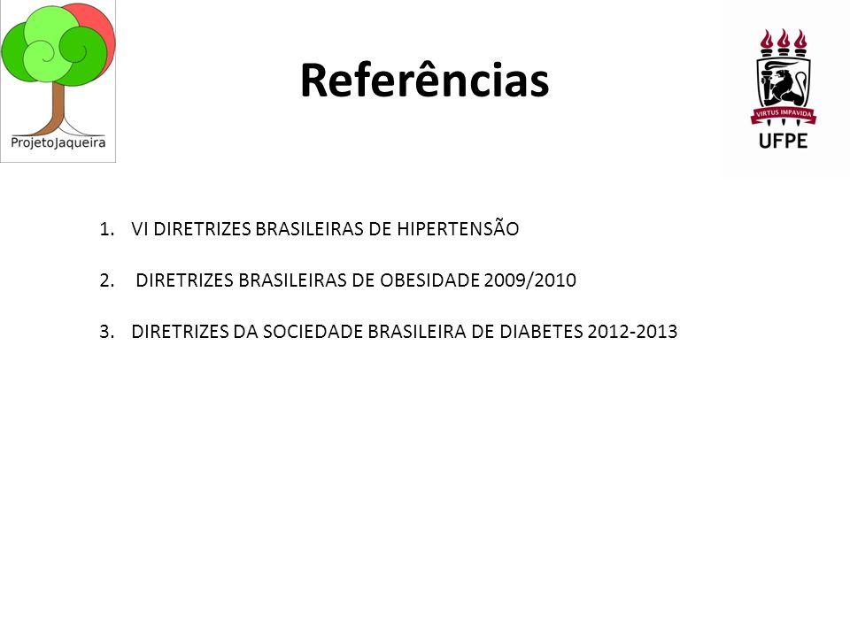 Referências 1.VI DIRETRIZES BRASILEIRAS DE HIPERTENSÃO 2.