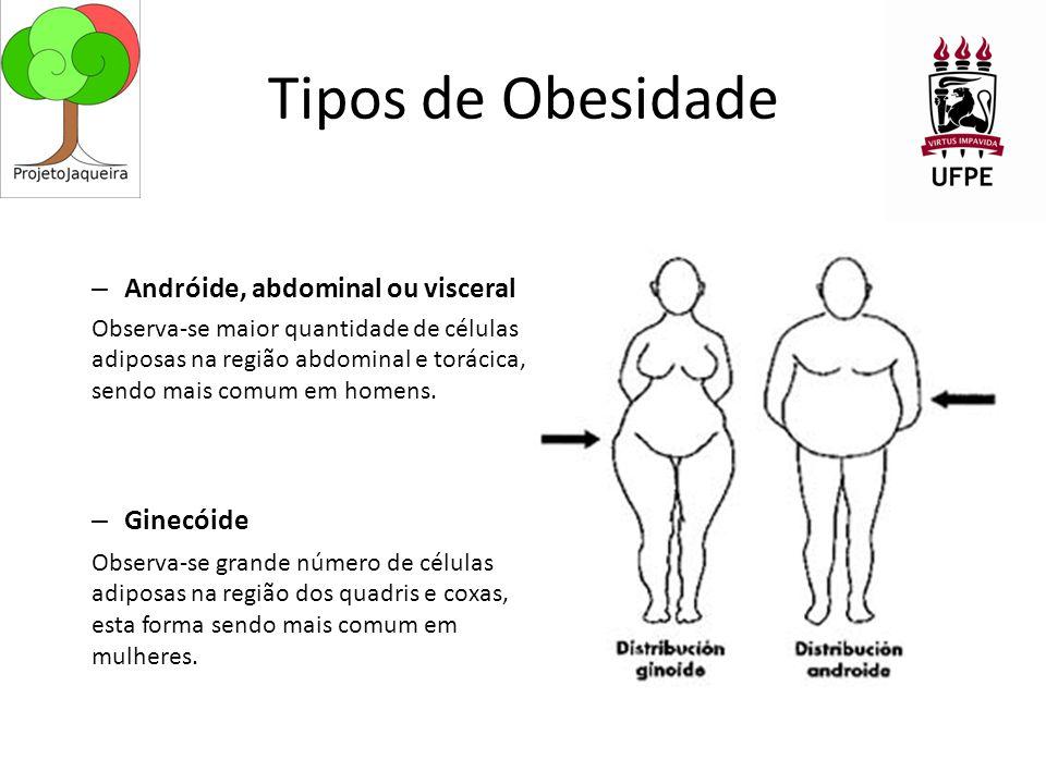 Tipos de Obesidade – Andróide, abdominal ou visceral Observa-se maior quantidade de células adiposas na região abdominal e torácica, sendo mais comum em homens.