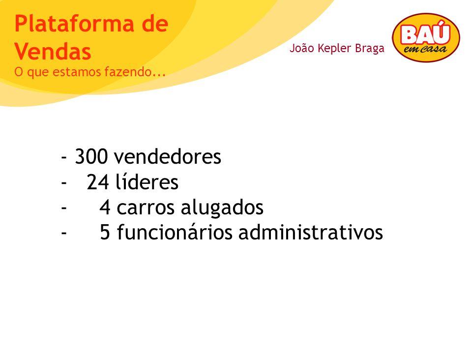 João Kepler Braga Plataforma de Vendas - 300 vendedores - 24 líderes - 4 carros alugados - 5 funcionários administrativos O que estamos fazendo...