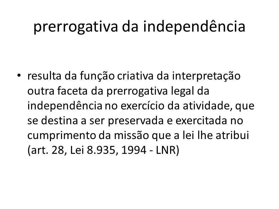 prerrogativa da independência resulta da função criativa da interpretação outra faceta da prerrogativa legal da independência no exercício da atividad