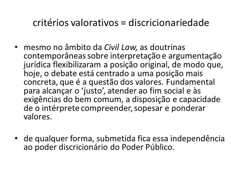 critérios valorativos = discricionariedade mesmo no âmbito da Civil Law, as doutrinas contemporâneas sobre interpretação e argumentação jurídica flexi