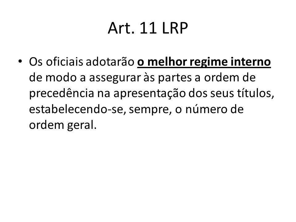 Art. 11 LRP Os oficiais adotarão o melhor regime interno de modo a assegurar às partes a ordem de precedência na apresentação dos seus títulos, estabe