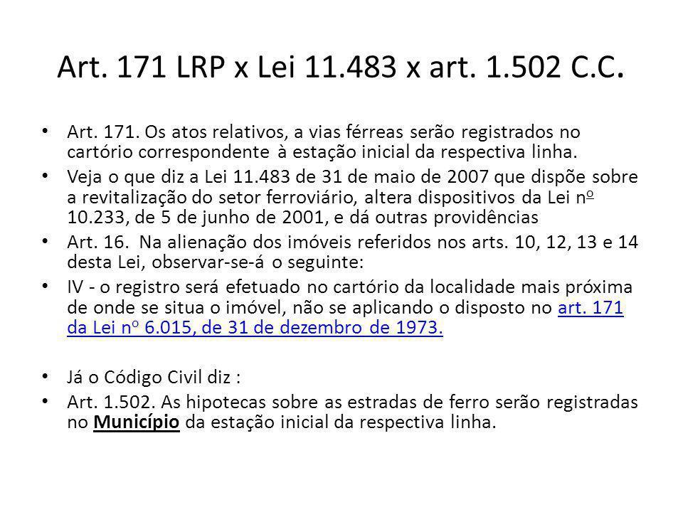 Art. 171 LRP x Lei 11.483 x art. 1.502 C.C. Art. 171. Os atos relativos, a vias férreas serão registrados no cartório correspondente à estação inicial