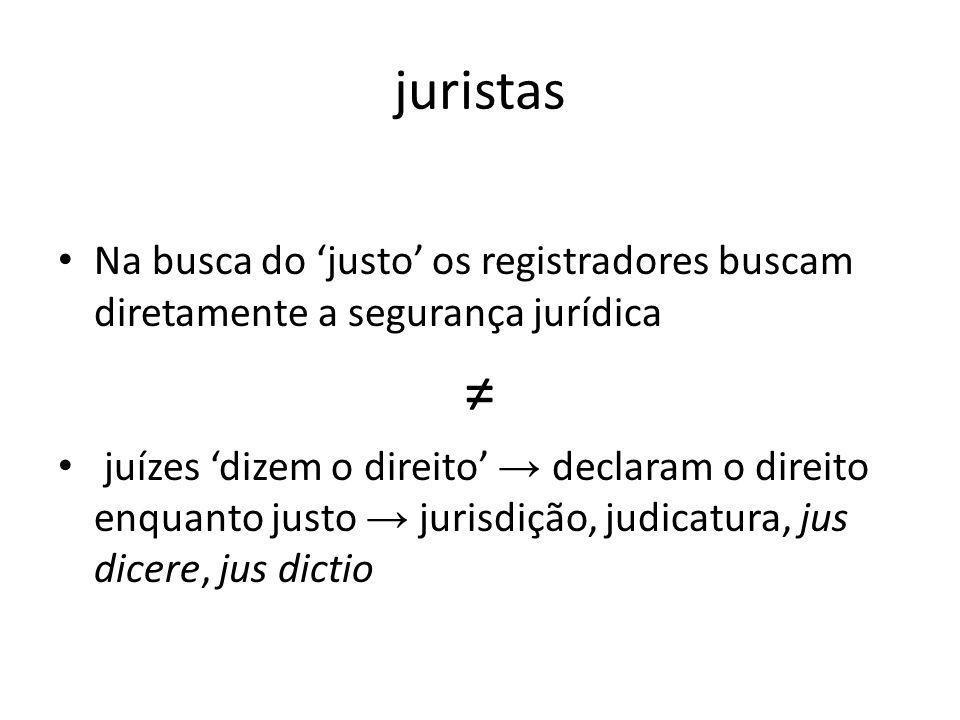 juristas Na busca do justo os registradores buscam diretamente a segurança jurídica juízes dizem o direito declaram o direito enquanto justo jurisdiçã
