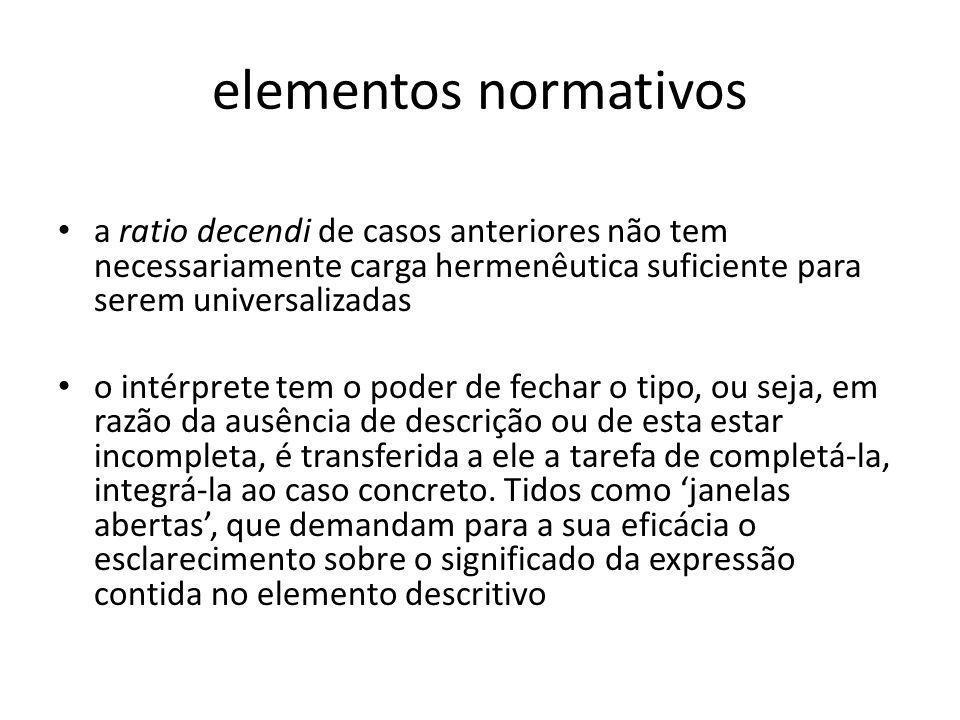 elementos normativos a ratio decendi de casos anteriores não tem necessariamente carga hermenêutica suficiente para serem universalizadas o intérprete