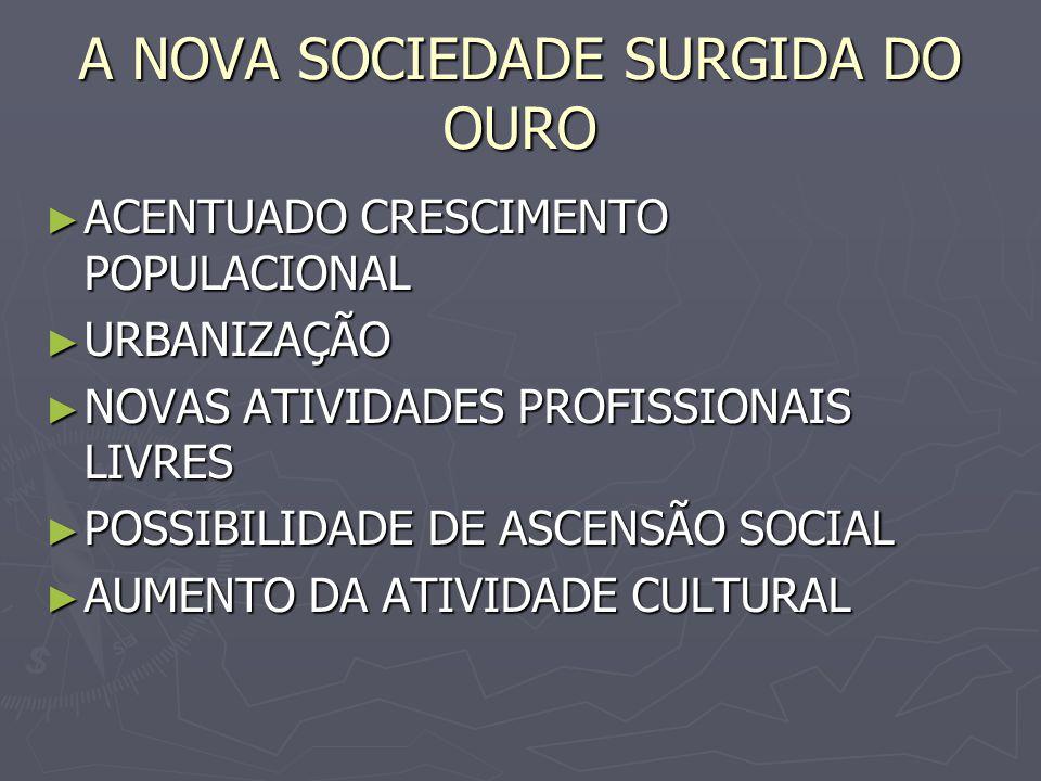 A NOVA SOCIEDADE SURGIDA DO OURO ACENTUADO CRESCIMENTO POPULACIONAL ACENTUADO CRESCIMENTO POPULACIONAL URBANIZAÇÃO URBANIZAÇÃO NOVAS ATIVIDADES PROFIS