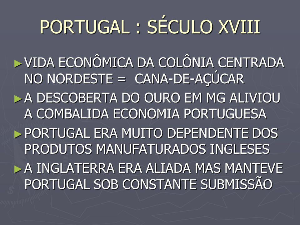 PORTUGAL : SÉCULO XVIII VIDA ECONÔMICA DA COLÔNIA CENTRADA NO NORDESTE = CANA-DE-AÇÚCAR VIDA ECONÔMICA DA COLÔNIA CENTRADA NO NORDESTE = CANA-DE-AÇÚCA