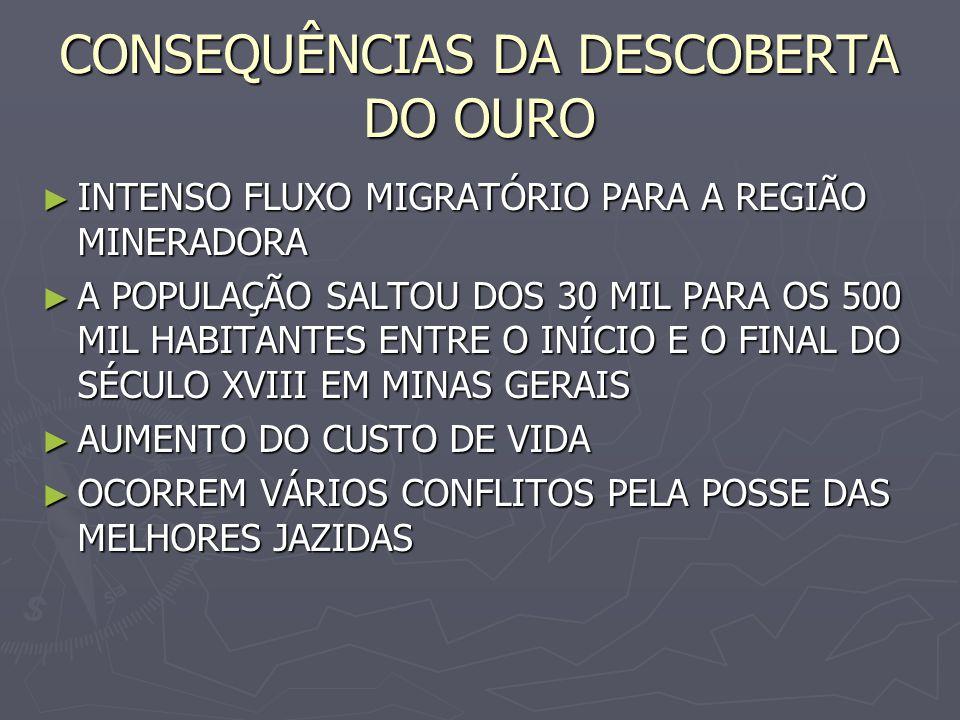 GUERRA DOS EMBOABAS PAULISTAS REIVINDICAVAM A EXCLUSIVIDADE NO DIREITO À EXPLORAÇÃO DO OURO PAULISTAS REIVINDICAVAM A EXCLUSIVIDADE NO DIREITO À EXPLORAÇÃO DO OURO CHAMAVAM OS MIGRANTES DE INVASORES OU ESTRANGEIROS = EMBOABAS - PORQUE ANDA- CHAMAVAM OS MIGRANTES DE INVASORES OU ESTRANGEIROS = EMBOABAS - PORQUE ANDA- VAM DE BOTAS VAM DE BOTAS O PRINCIPAL CONFLITO OCORREU NO CAPÃO DA TRAIÇÃO, COM O MASSACRE DE VÁRIOS PAULIS- TAS O PRINCIPAL CONFLITO OCORREU NO CAPÃO DA TRAIÇÃO, COM O MASSACRE DE VÁRIOS PAULIS- TAS A REGIÃO FOI PACIFICADA EM 1709 A REGIÃO FOI PACIFICADA EM 1709