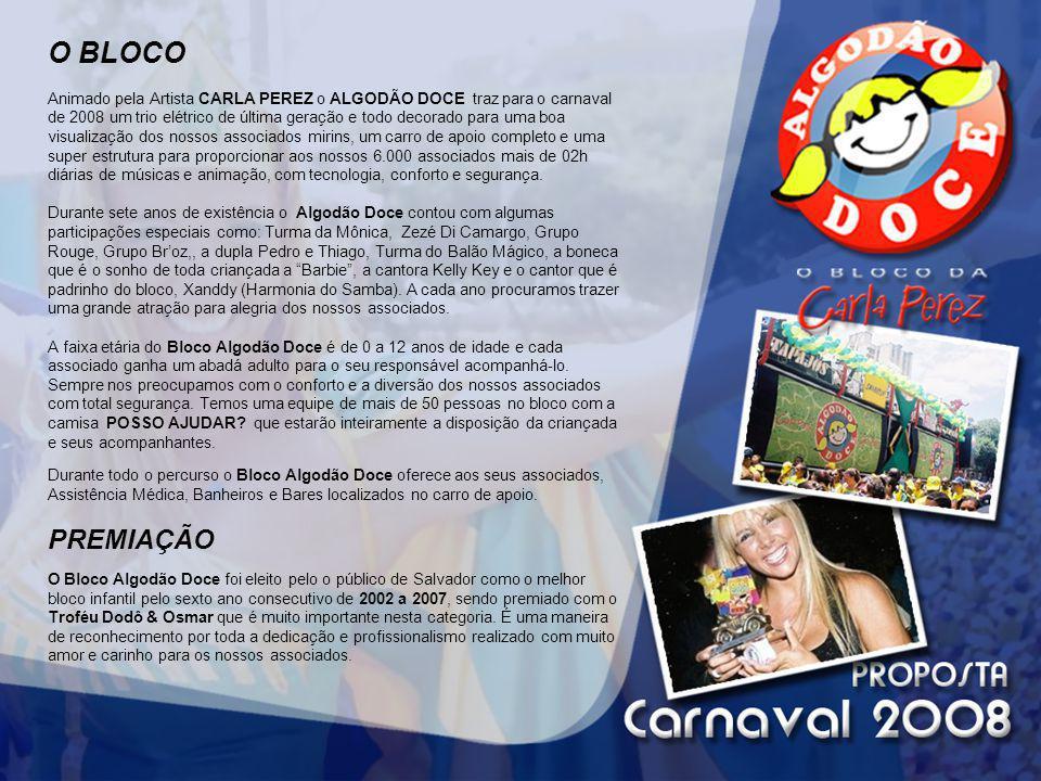 O BLOCO Animado pela Artista CARLA PEREZ o ALGODÃO DOCE traz para o carnaval de 2008 um trio elétrico de última geração e todo decorado para uma boa v
