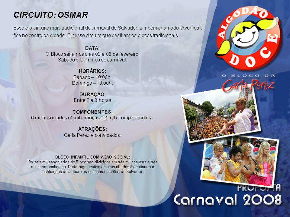 CIRCUITO: OSMAR Esse é o circuito mais tradicional do carnaval de Salvador, também chamado Avenida, fica no centro da cidade. É nesse circuito que des