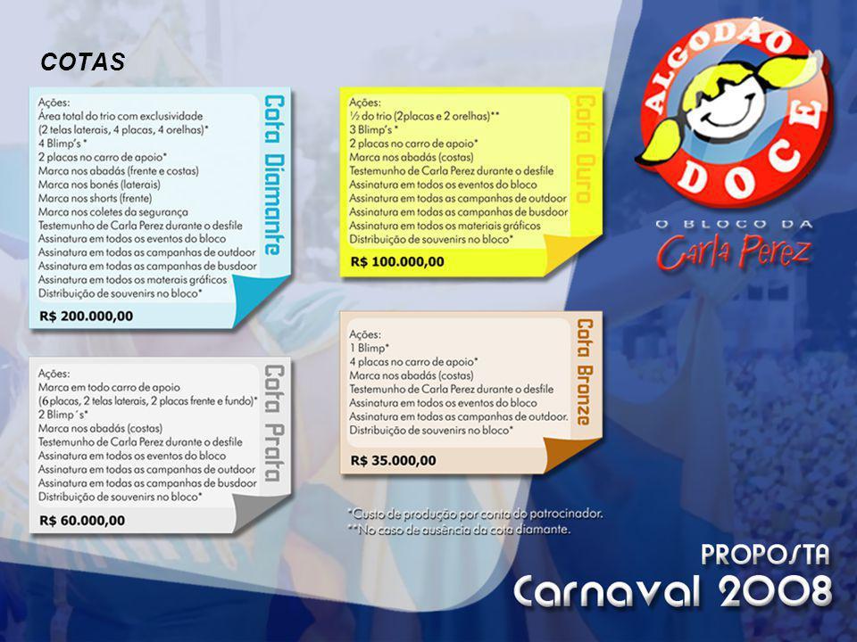 CONTATOS: Cida Ferreira Administração 71.3207-2211 8142-8243 blocoalgodaodoce@carlaperez.com.br criação: 71.