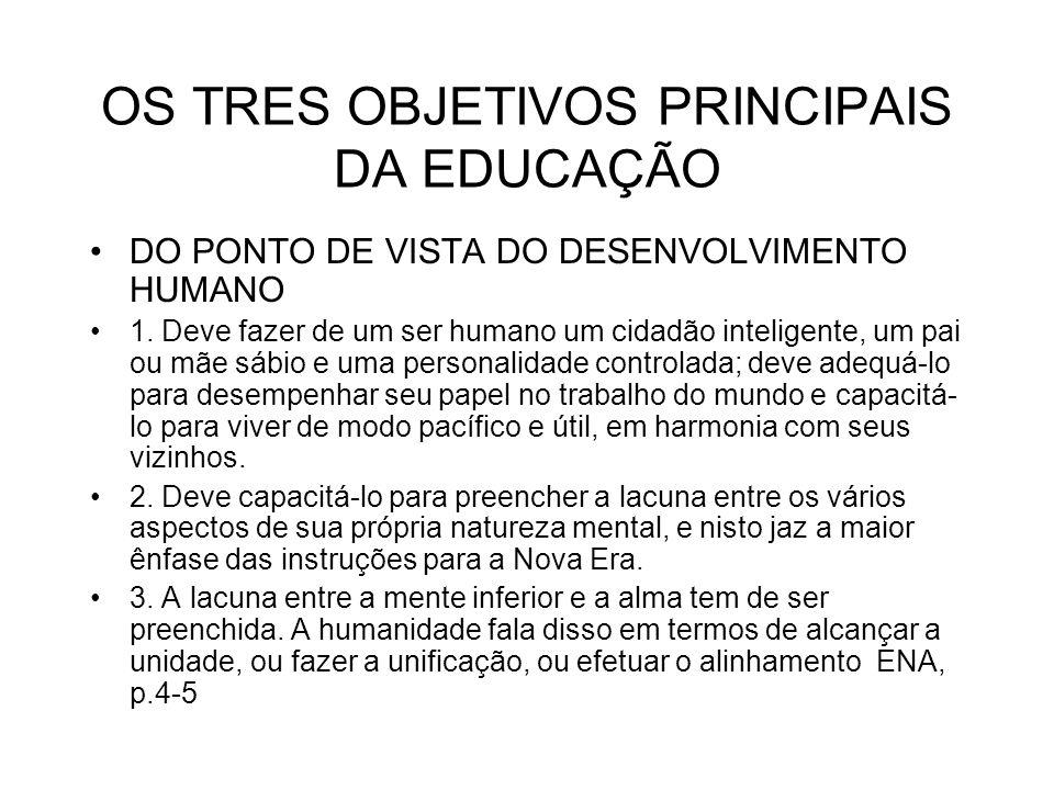 OS TRES OBJETIVOS PRINCIPAIS DA EDUCAÇÃO DO PONTO DE VISTA DO DESENVOLVIMENTO HUMANO 1. Deve fazer de um ser humano um cidadão inteligente, um pai ou