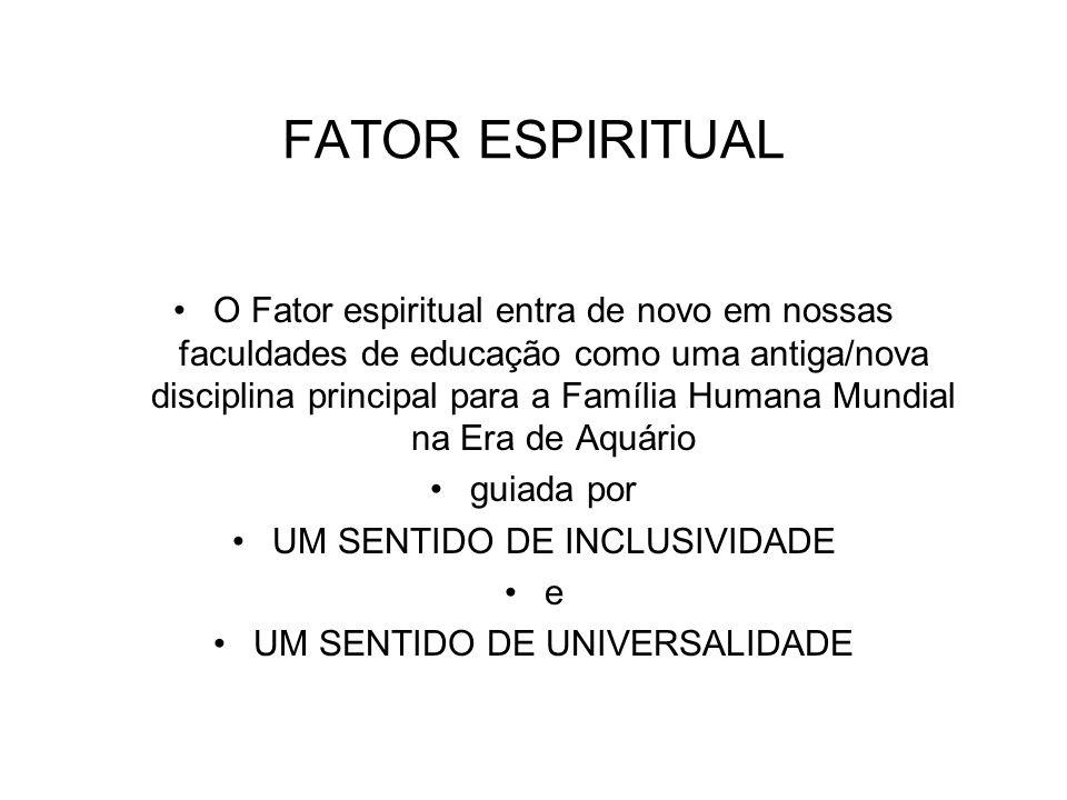 FATOR ESPIRITUAL O Fator espiritual entra de novo em nossas faculdades de educação como uma antiga/nova disciplina principal para a Família Humana Mun
