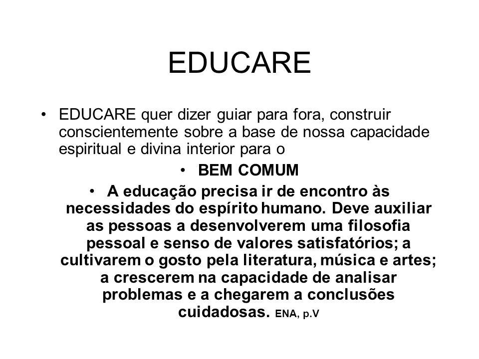EDUCARE EDUCARE quer dizer guiar para fora, construir conscientemente sobre a base de nossa capacidade espiritual e divina interior para o BEM COMUM A