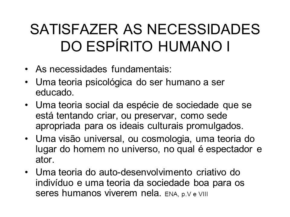 SATISFAZER AS NECESSIDADES DO ESPÍRITO HUMANO I As necessidades fundamentais: Uma teoria psicológica do ser humano a ser educado. Uma teoria social da