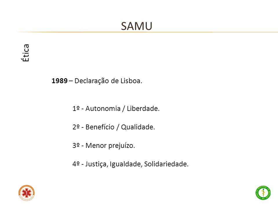 1989 – Declaração de Lisboa. 1º - Autonomia / Liberdade. 2º - Benefício / Qualidade. 3º - Menor prejuízo. 4º - Justiça, Igualdade, Solidariedade. SAMU