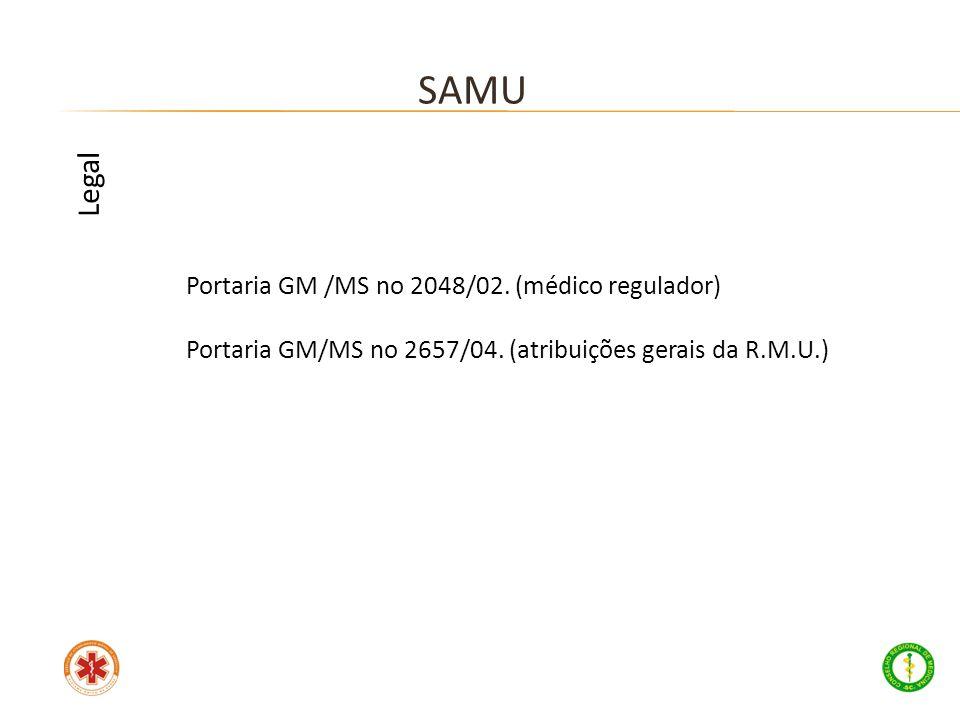 Portaria GM /MS no 2048/02. (médico regulador) Portaria GM/MS no 2657/04. (atribuições gerais da R.M.U.) SAMU Legal