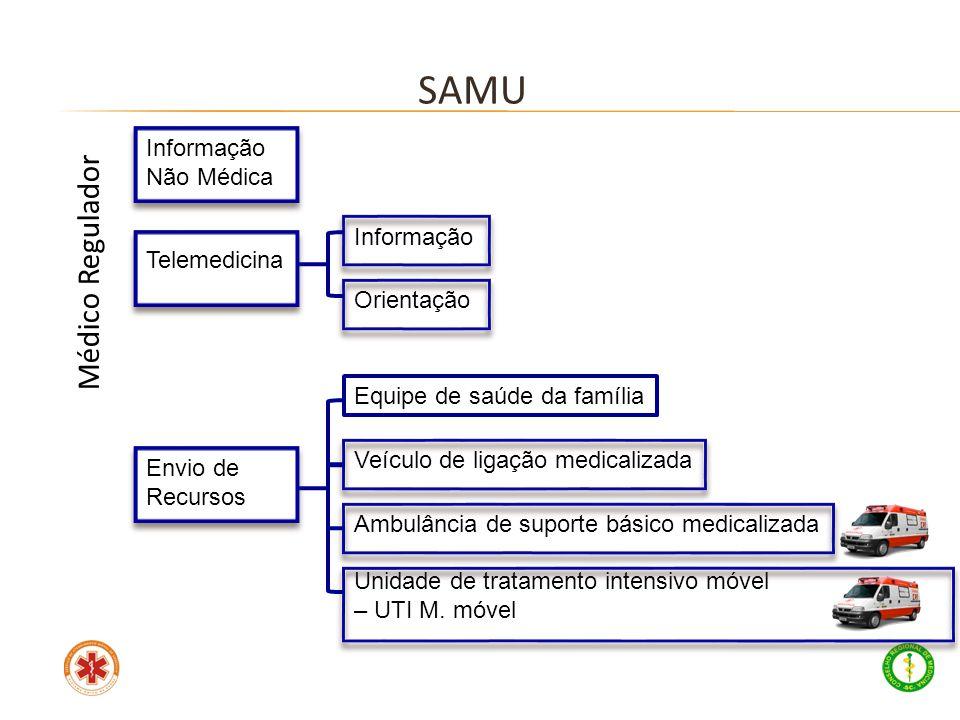 Médico Regulador Informação Não Médica Telemedicina Informação Orientação Envio de Recursos Equipe de saúde da família Veículo de ligação medicalizada
