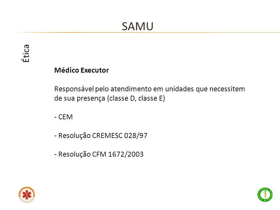 Médico Executor Responsável pelo atendimento em unidades que necessitem de sua presença (classe D, classe E) - CEM - Resolução CREMESC 028/97 - Resolu