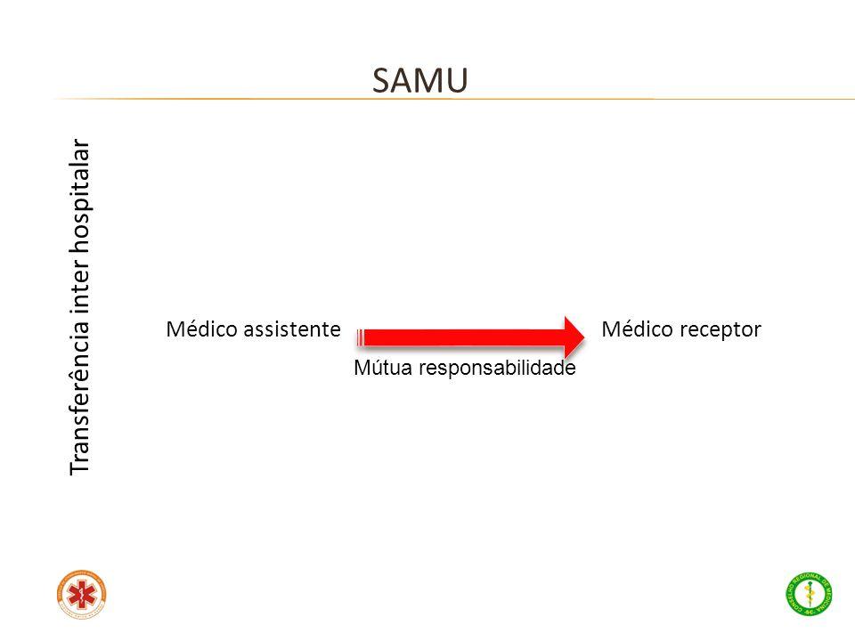 Médico assistente Médico receptor SAMU Transferência inter hospitalar Mútua responsabilidade