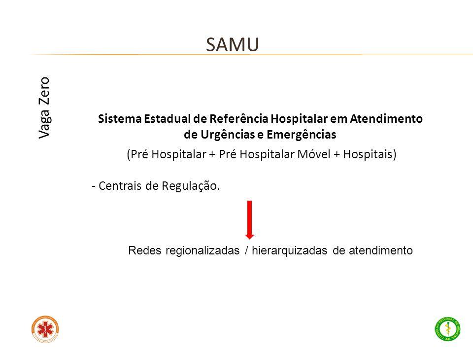 Sistema Estadual de Referência Hospitalar em Atendimento de Urgências e Emergências (Pré Hospitalar + Pré Hospitalar Móvel + Hospitais) - Centrais de