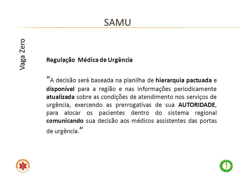 Regulação Médica de Urgência A decisão será baseada na planilha de hierarquia pactuada e disponível para a região e nas informações periodicamente atu