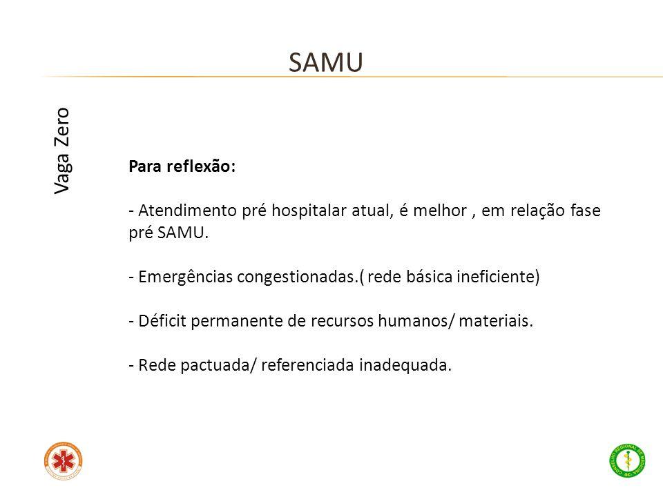 Para reflexão: - Atendimento pré hospitalar atual, é melhor, em relação fase pré SAMU. - Emergências congestionadas.( rede básica ineficiente) - Défic